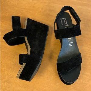 Pedro Garcia black suede platform sandals